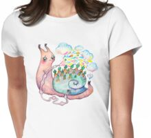 Rainbow snail watering the garden Womens Fitted T-Shirt