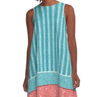 Kelp Ribbon, Periwinkle Shells & Starfish in Aqua, White, and Red Tones A-Line Dress