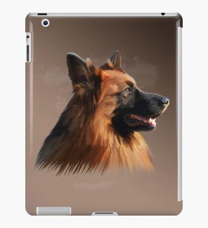 German Shepherd Dog Watercolor art Portrait Painting iPad Case/Skin