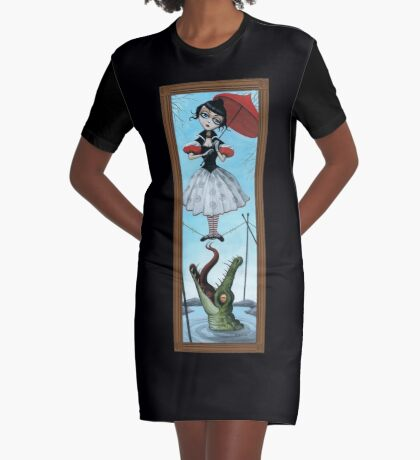 Tightrope Damsel Graphic T-Shirt Dress