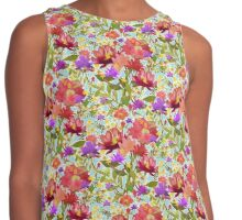 Watercolor Flower Garden in Pinks & Reds Contrast Tank
