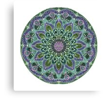 Hand Drawn Pink Purple Mandala  on Dark Canvas Print