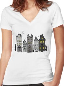 Haunted Houses Women's Fitted V-Neck T-Shirt