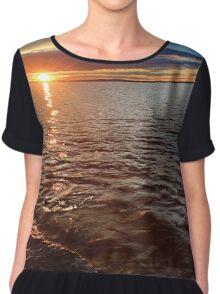 Sunset over the lake Chiffon Top