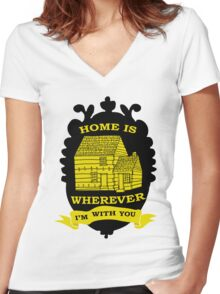 Home is Wherever Iam With You Women's Fitted V-Neck T-Shirt