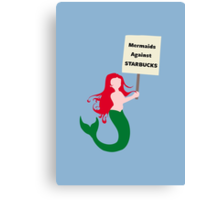 Mermaids Against Starbucks Canvas Print