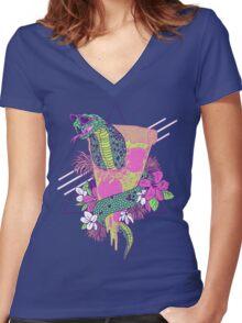 Snake Pizza Women's Fitted V-Neck T-Shirt
