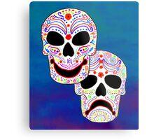 Comedy-Tragedy Colorful Sugar Skulls Metal Print