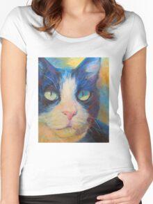 Tuxedo Cat Women's Fitted Scoop T-Shirt