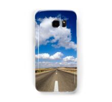 Australian, western New South Wales, Endless road to nowhere running into the horizon blue sky with clouds  Samsung Galaxy Case/Skin