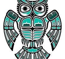 Teal Blue Haida Spirit Owl by Jeff Bartels