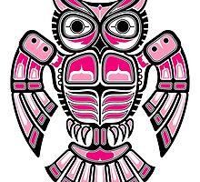 Pink and Black Haida Spirit Owl by Jeff Bartels
