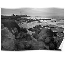 Pigeon Point Lighthouse BW Poster