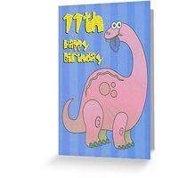 Happy Eleventh Birthday Pink Dinosaur Greeting Card