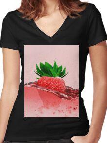Erdbeere (VEGAN) Women's Fitted V-Neck T-Shirt