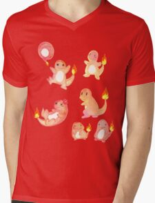 Watercolor Fire Salamander Mens V-Neck T-Shirt