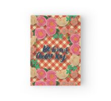 plaid,red,beige,vintage,country,rustic,worn,shabby chic, Hardcover Journal