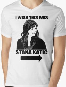 I Wish This Was Stana Katic Mens V-Neck T-Shirt