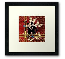 Butterfly tango and red damask Framed Print