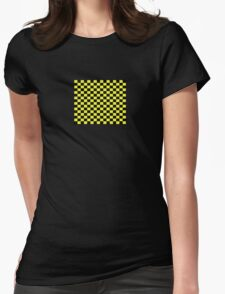 Checkered Black and Yellow Flag Womens Fitted T-Shirt