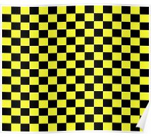 Checkered Black and Yellow Flag Poster