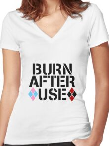 BURN AFTER USE Women's Fitted V-Neck T-Shirt