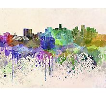 Denver skyline in watercolor background Photographic Print
