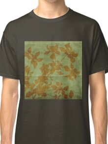 navy green,burlap,brown,flowers,rustic,grunge,old,nature,vintage Classic T-Shirt