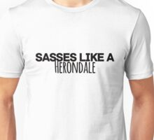 Sasses Like a Herondale (white) Unisex T-Shirt