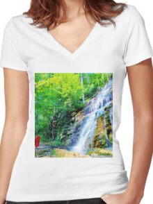 Silent Greeting Women's Fitted V-Neck T-Shirt