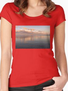 Sailing at Sunset - Little Pink Yacht at the Horizon Women's Fitted Scoop T-Shirt