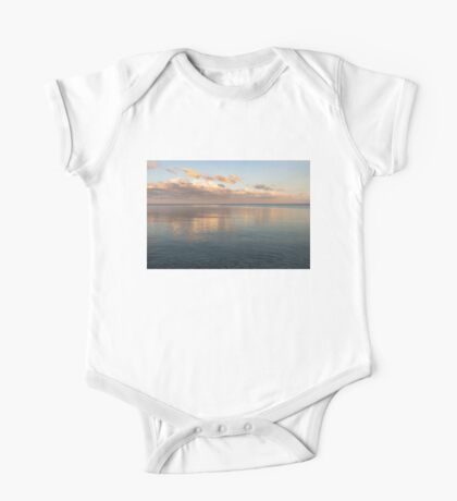 Sailing at Sunset - Little Pink Yacht at the Horizon One Piece - Short Sleeve