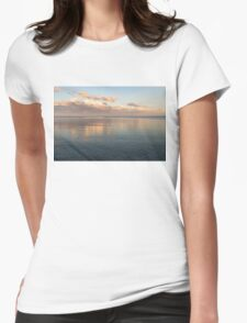 Sailing at Sunset - Little Pink Yacht at the Horizon Womens Fitted T-Shirt