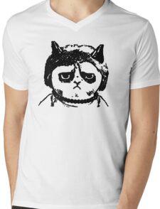 Grumpy Merkel Cat Mens V-Neck T-Shirt
