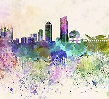 Lyon skyline in watercolor background by paulrommer