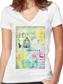 Freedom_Mixed Media Women's Fitted V-Neck T-Shirt