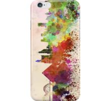 Memphis skyline in watercolor background iPhone Case/Skin