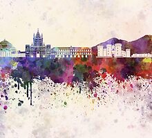 Naples skyline in watercolor background by paulrommer