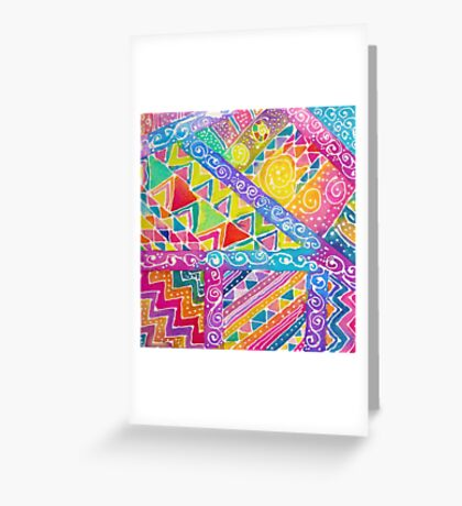 Whimsical Watercolor Geometric Zentangle Pattern Greeting Card