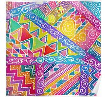 Whimsical Watercolor Geometric Zentangle Pattern Poster