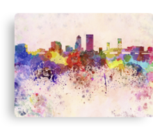 Jacksonville skyline in watercolor background Canvas Print