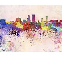 Jacksonville skyline in watercolor background Photographic Print