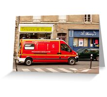 French Fire Truck Emergency Vehicle Greeting Card