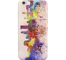 Jacksonville skyline in watercolor background iPhone Case/Skin