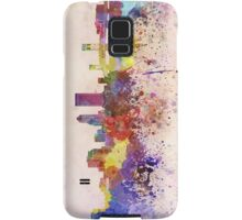 Jacksonville skyline in watercolor background Samsung Galaxy Case/Skin