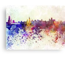 Chicago skyline in watercolor background Metal Print