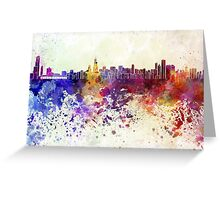 Chicago skyline in watercolor background Greeting Card