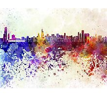 Chicago skyline in watercolor background Photographic Print