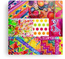 Dancing Skeleton in Abstract Boho Chic Colorful Patchwork Pattern Canvas Print