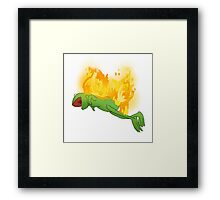 he yells Framed Print